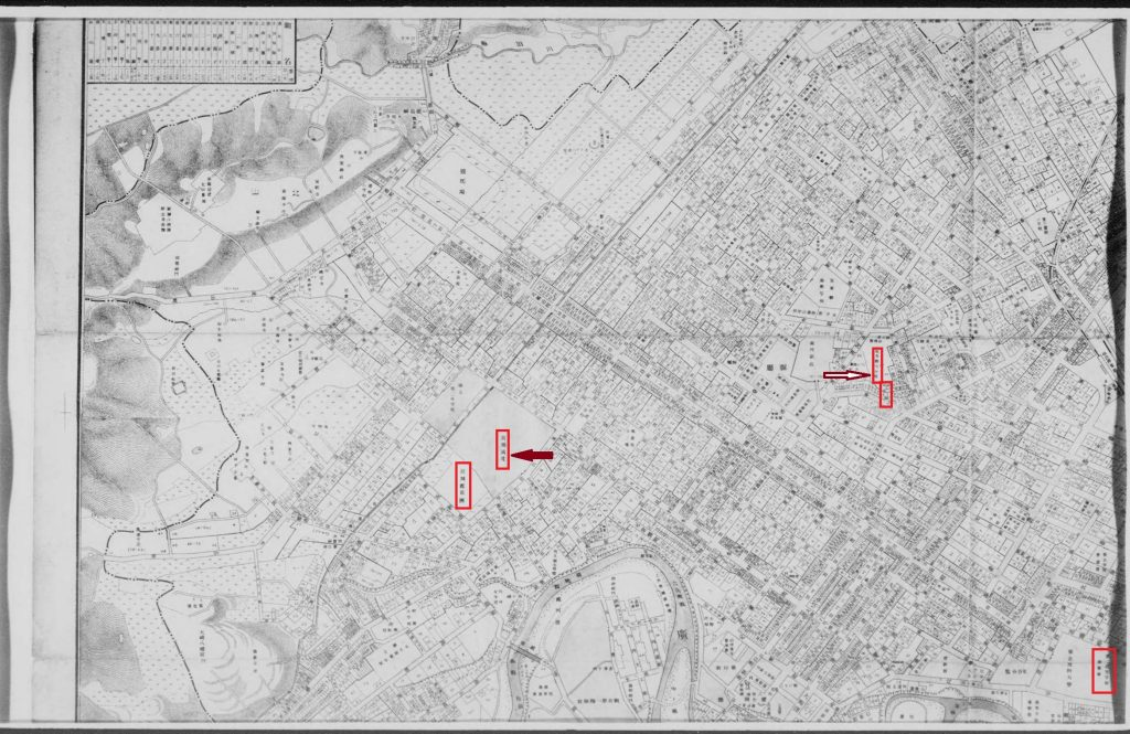 この画像には alt 属性が指定されておらず、ファイル名は 仙台市全図番地入り大正4年-1024x665.jpg です